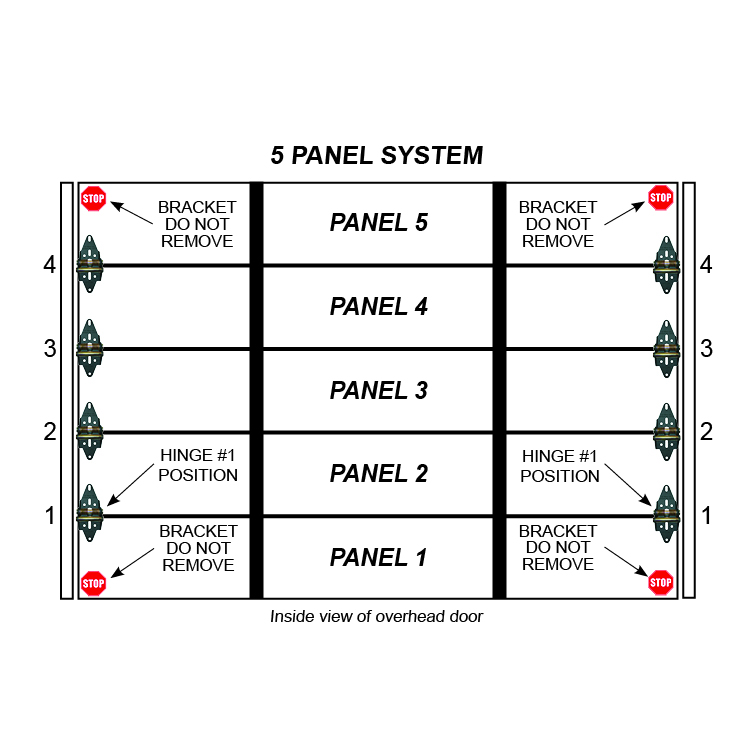 Single Stall 5 Panel Residential Garage Door Hinge Set