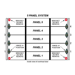 Single Stall 5 Panel Residential Garage Door System
