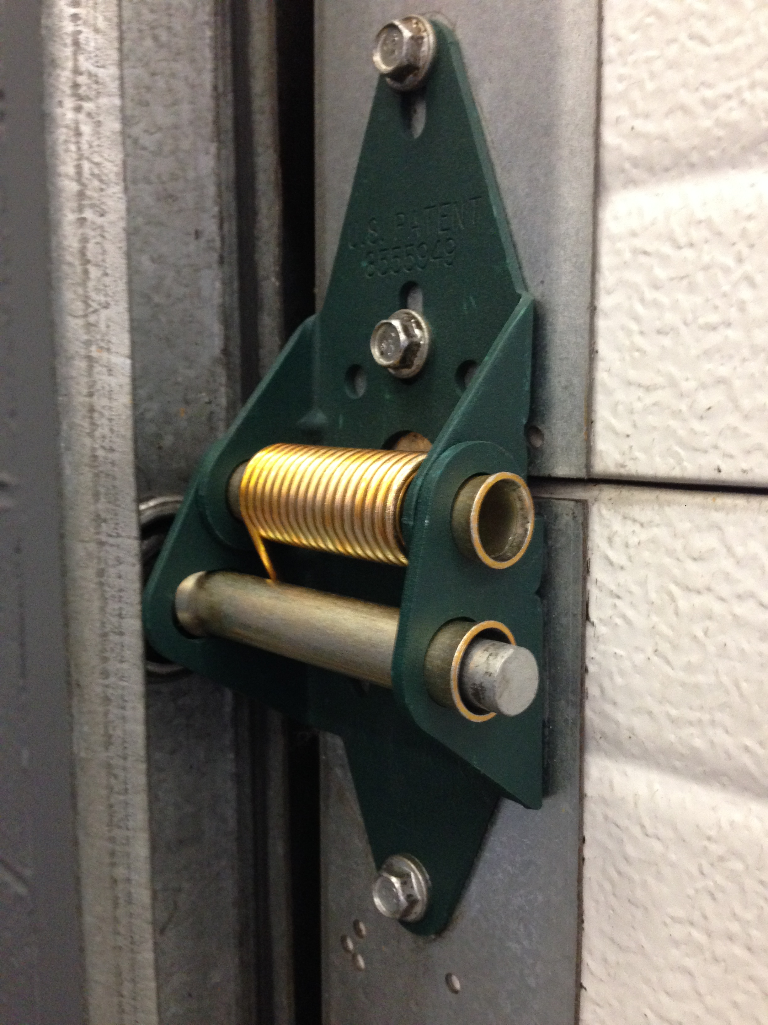 closeup of green hinge